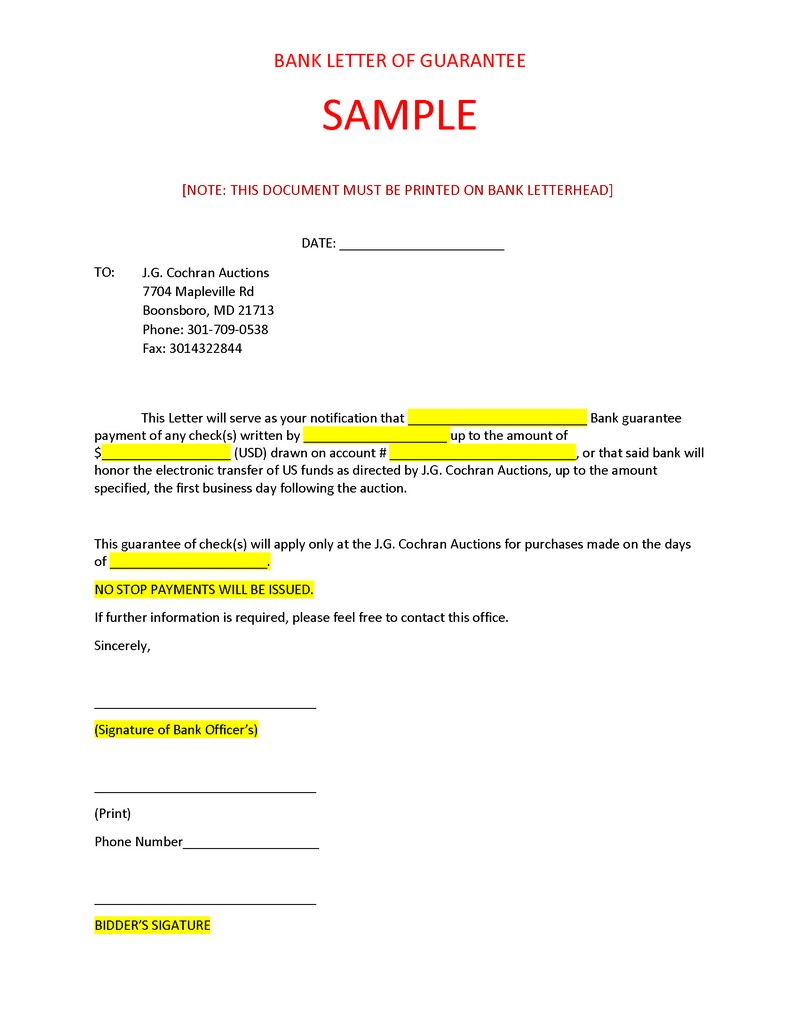 Bank Letter Sample For Cochran Auctions LLC